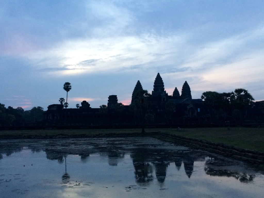 Ankor Wat at Sunrise LisaDeviAdventures, Lisa Devi, Yoga, Siem Reap, Cambodia, Southeast Asia, Travel Blog, Travel Writing, Expat Blog, Hong Kong, Lisa Kazmer, Reflection
