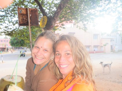 Lisa and Cindee drinking Coconuts in Mysore