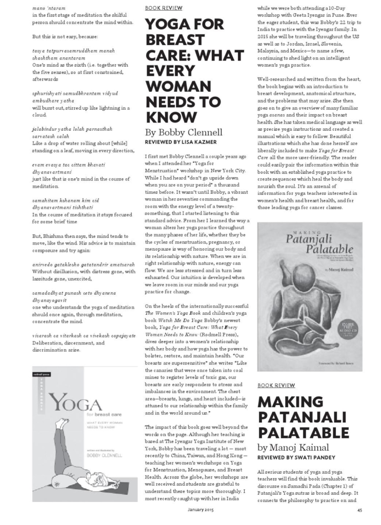 Namaskar Magazine: Book Review Yoga for Breast Care by Bobby Clennell Reviewed by Lisa Kazmer LisaDeviAdventures